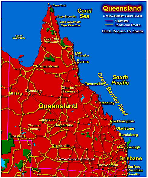 Map of Queensland Aust.