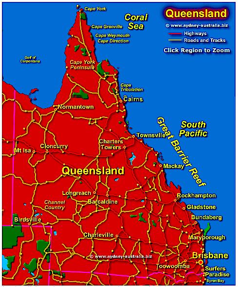 Map of Queensland Aust.