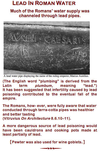 Lead in Roman water n